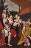 Parma - pittura di Madonna con il bambino St Jerome e st Mary Magdalen in chiesa Chiesa di San Vitale come copia di Correggio Immagini Stock Libere da Diritti