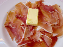 Parma raw ham with butter Royalty Free Stock Photos