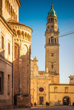 Parma. Street view of the tower and San Giovanni Evangelista church in Parma, Emilia-Romagna, Italy stock photo