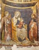PARMA WŁOCHY, KWIECIEŃ, - 16, 2018: Fresk madonna z dzieckiem, St John baptystą i biskupem w Baptistery, Zdjęcia Stock
