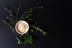Parmesan and aroma herbs. On black background with dramatic side light stock image