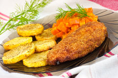 Parmesan breaded chicken breast Royalty Free Stock Images