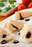 Parmesan cheese with balsamic vinegar Royalty Free Stock Photos