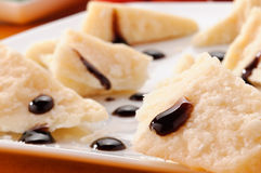 Parmesan cheese with balsamic vinegar. Of Modena, Italy, closeup royalty free stock photography