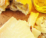 Parmesan Cheese with Bread and Olive Oil stock image
