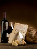 Parmesan cheese bread and wine Stock Photo