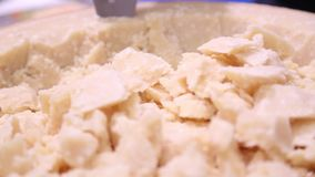 Parmesan cheese in chunks stock video