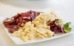 Parmesan cheese, cold cuts and red chicory salad in a plate. Parmesan cheese, cold cuts and red chicory salad in a white plate Royalty Free Stock Image