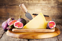 Parmesan cheese with fresh figs Royalty Free Stock Photography