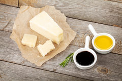 Parmesan cheese, herbs and spices Stock Image