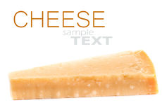 Parmesan Cheese  Isolated on White Background close up. Piece of Royalty Free Stock Images