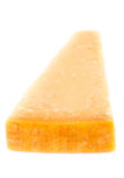Parmesan Cheese  Isolated on White Background close up. Piece of Stock Photo