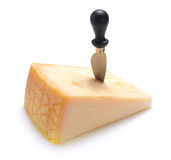 Parmesan cheese with knife Royalty Free Stock Photography