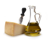 Parmesan cheese and olive oil Stock Images