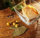 Parmesan cheese and olives Royalty Free Stock Images