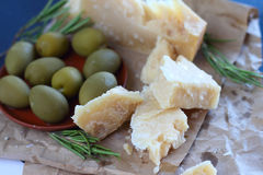 Parmesan cheese and olives Stock Photo