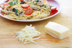 Parmesan cheese and pasta Royalty Free Stock Photos