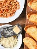 Parmesan Cheese Spaghetti Garlic Bread Stock Photography
