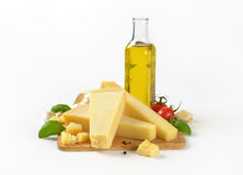 Parmesan cheese, vegetables and olive oil Stock Photo