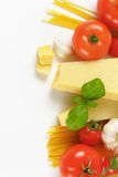 Parmesan cheese, vegetables and spaghetti Stock Photo