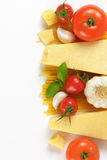 Parmesan cheese, vegetables and spaghetti Royalty Free Stock Photos