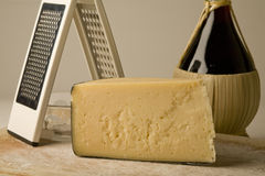 Parmesan cheese with wine. Royalty Free Stock Photography