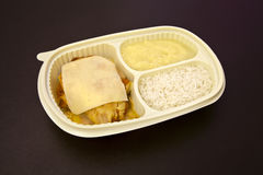 Parmesan chicken fillet, rice and mashed potatoes Royalty Free Stock Image