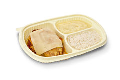 Parmesan chicken fillet, rice and mashed potatoes on white backg Stock Images