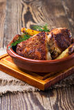 Parmesan crusted chicken thighs Royalty Free Stock Images