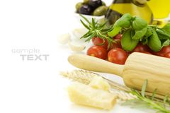 Parmesan, herbs and vegetables royalty free stock photography