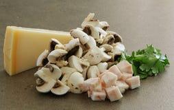 Parmesan mushrooms bacon and parsley. Parmesan, mushrooms, bacon, and parsley prepared for fresh pasta dish stock images