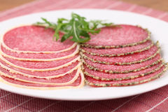 Parmesan and pepper crust salami Royalty Free Stock Images