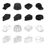 Parmesan, roquefort, maasdam, gauda.Different types of cheese set collection icons in black,outline style vector symbol. Stock illustration Royalty Free Stock Images