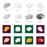 Parmesan, roquefort, maasdam, gauda.Different types of cheese set collection icons in monochrome,flat style vector. Symbol stock illustration Stock Image