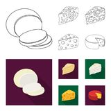 Parmesan, roquefort, maasdam, gauda.Different types of cheese set collection icons in outline,flat style vector symbol. Stock illustration Stock Photo