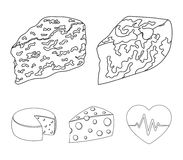 Parmesan, roquefort, maasdam, gauda.Different types of cheese set collection icons in outline style vector symbol stock. Illustration Stock Photos