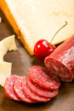 Parmesan shortbread biscuits and salami Royalty Free Stock Images