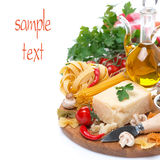 Parmesan, spices, olive oil, pasta and herbs, isolated Royalty Free Stock Image