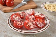 Parmesan tomatoes stock photo