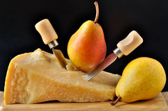 Parmezaanse kaas en peren stock fotografie