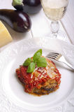 parmigiana eggplant on dish Royalty Free Stock Photo