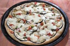 Parmigiana pizza. With eggplants parmesan cheese and mozzarella Stock Image