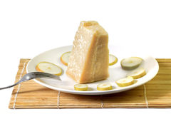 Parmigiano cheese and pear Royalty Free Stock Photos