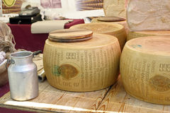 Parmigiano reggiano. Cheese on sale at the market stock image