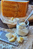 Parmigiano-Reggiano. Called Parmesan in English is a hard, granular cheese Stock Photo