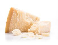 Parmigiano reggiano on white background Stock Images
