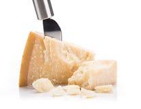 Parmigiano reggiano on white background Royalty Free Stock Photos