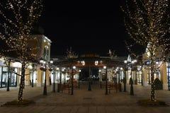 Parndorf bij de nacht Austria1 stock afbeeldingen