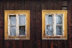 Parnica village in Orva region. Traditional log cabin in Orava region, Slovakia stock photos