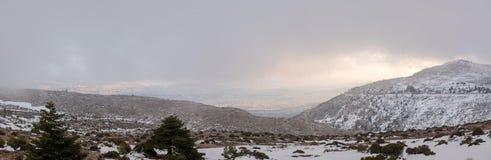 Parnitha mountain with snow, Greece Royalty Free Stock Photos